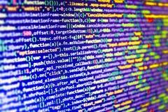 Software developer workspace screen. Programming code abstract screen software developer. Computer script Stock Images