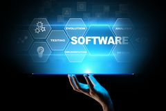 Software development and business process automation, internet and technology concept on virtual screen. royalty free stock photos