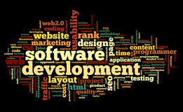 Software development concept in tag cloud. On black background Royalty Free Stock Photography
