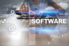 Software development. Data Digital Programs System Technology Concept.