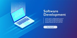 Software development and programming code on laptop, personal data processing, computing isometric vector. Software development engineering and programming code royalty free illustration