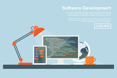 Software development. Flat style concept for software development, programming and coding, search engine optimization, web development concepts Stock Photography