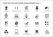 Software development icon set. Vector symbols to be used for Software development and information technology stock illustration
