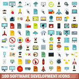 100 software development icons set, flat style. 100 software development icons set in flat style for any design vector illustration Royalty Free Stock Photos