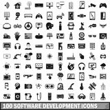 100 software development icons set, simple style Stock Photography