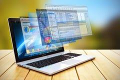 Software development and internet concept. Software application program development and internet web business concept 3D render illustration of laptop or vector illustration