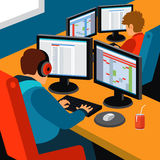 Software development office. Two programmers working at their desks. Flat style vector illustration Stock Image