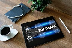 Software development and process automation concept on tablet computer screen. stock photo