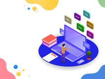 Software development or programming concept based isometric design, analyst analysis data on laptop or workspace of a web develop. Er royalty free illustration