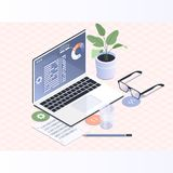 Software development and programming.Programmer coding binary computer isometric vector flat illustration. Software development and programming.Programmer coding Royalty Free Stock Photos