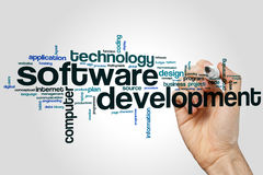 Software development word cloud. Concept on grey background Royalty Free Stock Photos