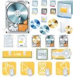 Software di vettore ed insieme dell'icona del hardware Fotografia Stock