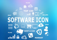 Software diversity icons on blue background. Royalty Free Stock Images