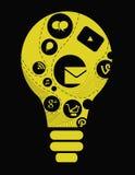 Software empresarial y medios concepto social Imagen de archivo libre de regalías