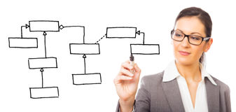 Software Engineer Drawing A Uml Class Diagram Stock Image