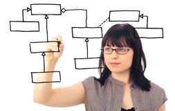 Software Engineer Drawing A Uml Class Diagram Stock Photography