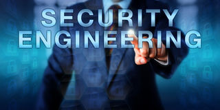 Software Engineer Touching SECURITY ENGINEERING Royalty Free Stock Photos
