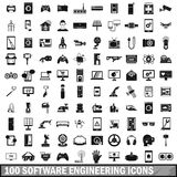 100 software engineering icons set, simple style Stock Images