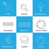 Software engineering, project planning process - concept vector. Line icons. Some of the steps are defining & research, brainstorming ideas & development Stock Image