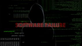 Software failure, unsuccessful attempt to hack server, disappointed criminal. Stock footage stock video
