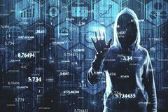 Software and hacking concept. Hacker with abstract big data interface on blurry background. Software and hacking concept. Double exposure royalty free stock photos