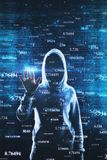 Software and hacking concept. Hacker with abstract big data interface on blurry background. Software and hacking concept. Multiexposure royalty free stock photos