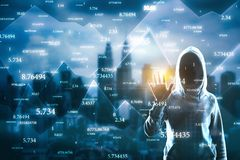 Software and hacking concept. Hacker with abstract big data interface on blurry Kuala Lumpur city background. Software and hacking concept. Multiexposure stock photos
