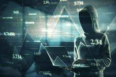 Software and hacking concept. Side view of hacker using laptop with abstract big data interface on blurry background. Software and hacking concept. Double royalty free stock photos