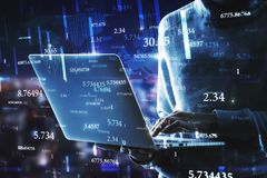 Software and hacking concept. Side view of hacker using laptop with abstract big data interface on blurry background. Software and hacking concept. Multiexposure stock photo