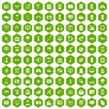 100 software icons hexagon green. 100 software icons set in green hexagon isolated vector illustration Vector Illustration