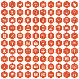 100 software icons hexagon orange. 100 software icons set in orange hexagon isolated vector illustration Royalty Free Stock Photos