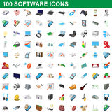 100 software icons set, cartoon style Stock Image