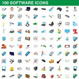 100 software icons set, cartoon style. 100 software icons set in cartoon style for any design illustration royalty free illustration