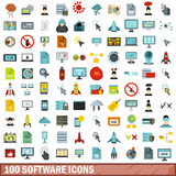 100 software icons set, flat style Stock Photography
