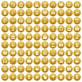 100 software icons set gold Stock Photos
