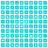 100 software icons set grunge blue. 100 software icons set in grunge style blue color isolated on white background vector illustration Royalty Free Stock Image