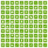 100 software icons set grunge green. 100 software icons set in grunge style green color isolated on white background vector illustration Stock Image