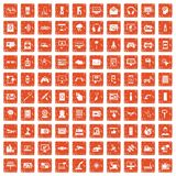 100 software icons set grunge orange. 100 software icons set in grunge style orange color isolated on white background vector illustration Stock Illustration