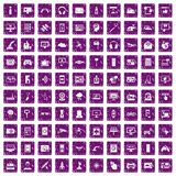 100 software icons set grunge purple. 100 software icons set in grunge style purple color isolated on white background vector illustration Royalty Free Stock Photo