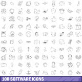 100 software icons set, outline style Stock Photo