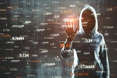 Software and innovation concept. Hacker with abstract big data interface on blurry background. Software and innovation concept. Double exposure royalty free stock photos