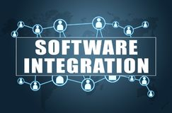 Software Integration. Text concept on blue background with world map and social icons Stock Photos