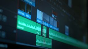 Software interface for editing video in film and television. Professional post production for photos and videos. Movie