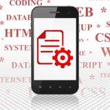Software-Konzept: Smartphone mit Gang auf Anzeige Stockfoto