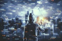 Software and malware concept. Hacker with abstract big data interface on blurry Kuala Lumpur city background. Software and malware concept. Double exposure royalty free stock image