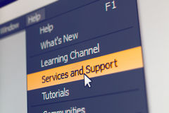 Software menu item with support and service command Stock Photography