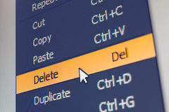 Free Software Menu Item With Delete Command Stock Images - 87465624