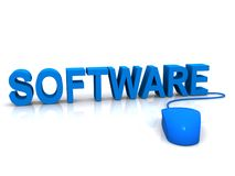 Software and mouse. The word software and a mouse in blue Royalty Free Stock Photos