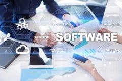 Software-ontwikkeling Concept van de het Systeemtechnologie van gegevens het Digitale Programma's stock foto