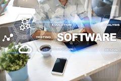 Software-ontwikkeling Concept van de het Systeemtechnologie van gegevens het Digitale Programma's stock afbeelding